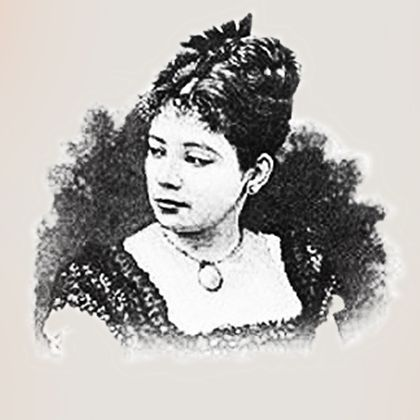 An illustration of a woman with her head turned towards the left. She has her hair up and is wearing a necklace.