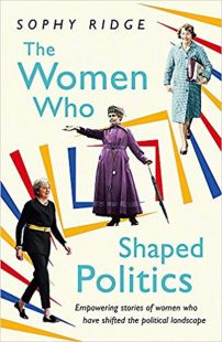 book cover with a white background, featuring a primary coloured geometric pattern, and it has three women from different periods in history