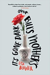 Cover of Its gone dark. It is a light grey background, with an old-fashioned cracked porcelain vase in the centre with a single red rose inside. The title is written around this image in a handwriting font that looks like black marker pen.