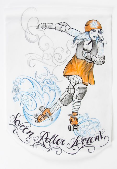 a design by the Severn Roller Torrent showcasing the artistic element of the sport and the 'boutfits' of the players