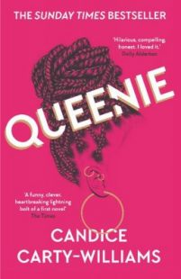 Book cover of Queenie by Candic Carty-Williams. It is a pink cover with an illustration of a woman's braided hair tied up in a bun on her head.
