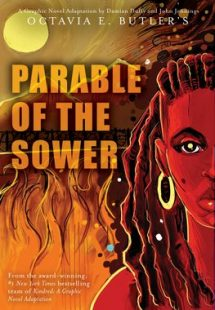 Book cover of The Parable of the Sower by Octavia Butler showing an illustration of a woman against a backdrop of fire