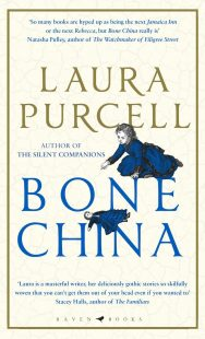 The cover of Bone China by Laura Purcell. A young girl in a dark blue Victorian era dress kneels and points to a doll in similar clothing that has fallen.