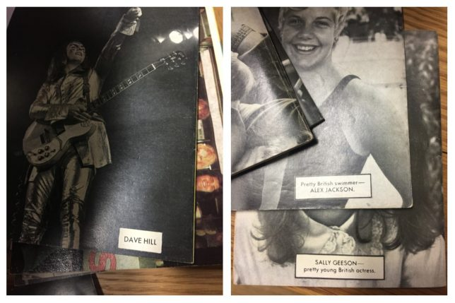 The back pages of a selection of Bunty comic books, featuring black and white photos of men and women.