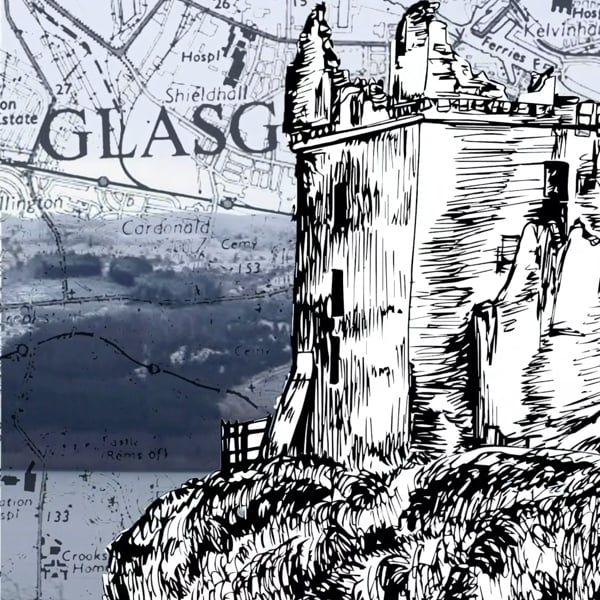 "An illustration of a historic building with the word ""Glasgow"" just visible behind it."