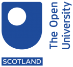 "A blue logo that says ""The Open University Scotland"""