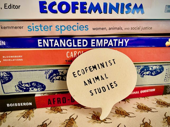 "The spines of books with a cut out of a speech bubble that says, ""Ecofeminist Animal Studies"""