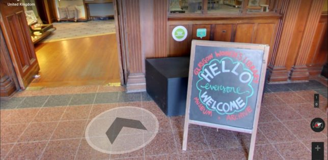 Google Streetview screenshot of the GWL entrance, with a sandwichboard that says 'Hello Everyone Welcome'. A streetview navigation arrow points towards the open doors.
