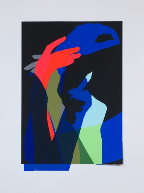 A collage of intertwined blue, green and red arms against a black background