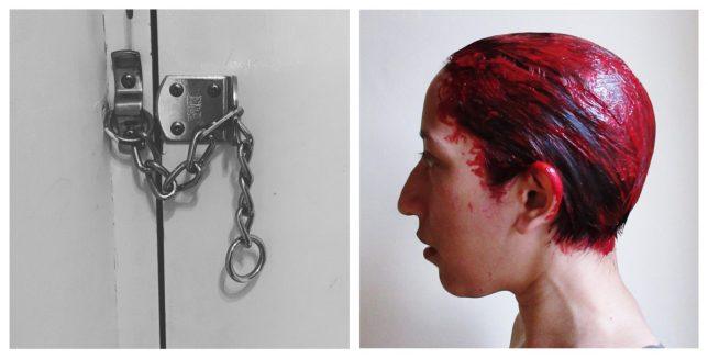 A pair of photographic prints, one of a padlock and chain, the other of a woman in side profile, plastered in red hair dye