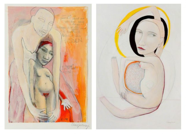 Mixed media paintings depicting (left) a nude woman enveloped by a larger female figure and (right) a nude woman with one arm raised above her head and the other wrapped around her pregnant belly
