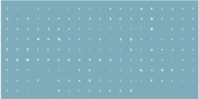 165 white stars or asterisks on a pale blue background