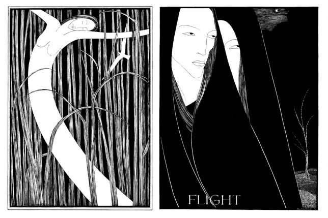 Black and white drawings of (left) a female figure dancing amongst tall grass and (right) two cloaked female figures against a dark sky
