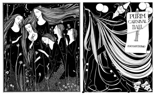 Black and white drawings of (left) six women with flowing hair in a garden of tall flowers and (right) a figure holding a poster marked 'Purim Carnival Ball'