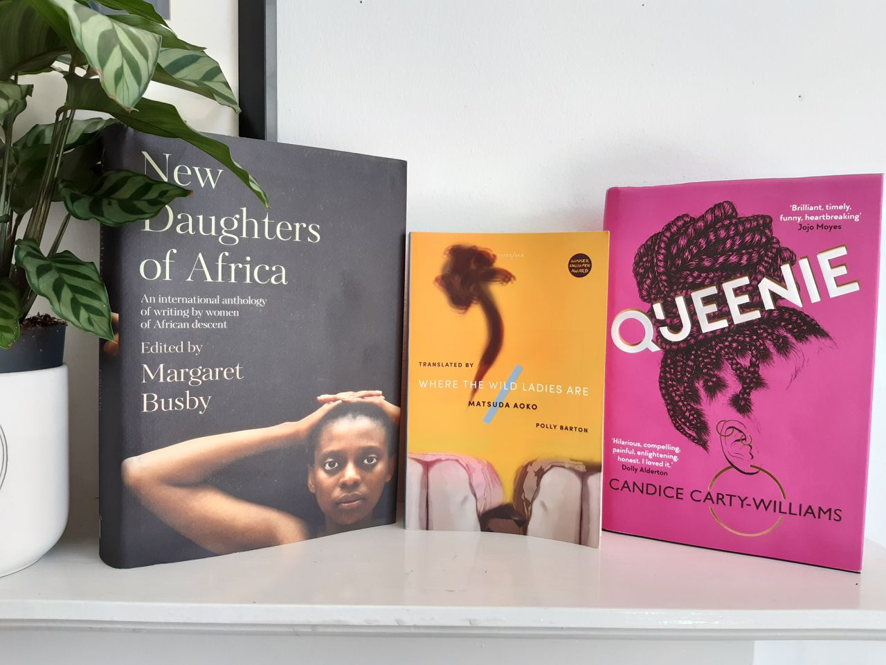 Three books standing on a shelf with a plant. The books are New Daughters of Africa, edited by Margaret Busby, which has a black cover with a photo of a black woman looking directly at the reader, her hands clasped behind her head; Where the Wild Ladies Are, by Matsuda Aoko, a yellow cover with a dark abstract shape in the top half, and an illustration of the knees of two women in skirts sitting beside each other; Queenie, by Candace Carty-Williams, a deep pink cover with the head of a black woman in profile, her face not visible, and long braids pulled up into a bun.