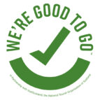 Good To Go Scotland logo - the words 'We're good to go' in capital letters in a circle around a tick. The logo is green on a white background.