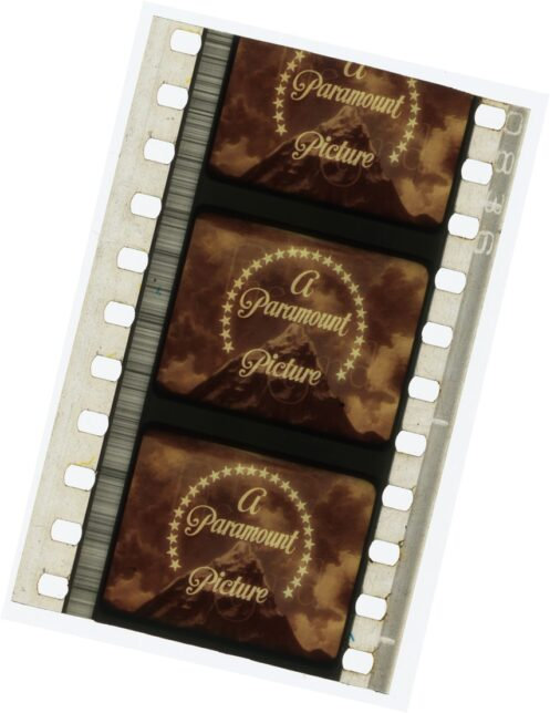 Paramount Pictures logo - 35mm film strip, donated by Thomas McGoran (Glasgow projectionist), courtesy of Cinema and Culture in 1930s Britain collection, Lancaster University Special Collection