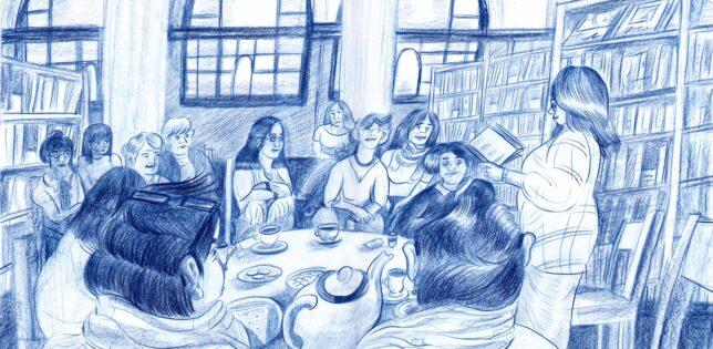 Illustration of GWL's Story Cafe. Credit: Johanne Deffarges, 2020