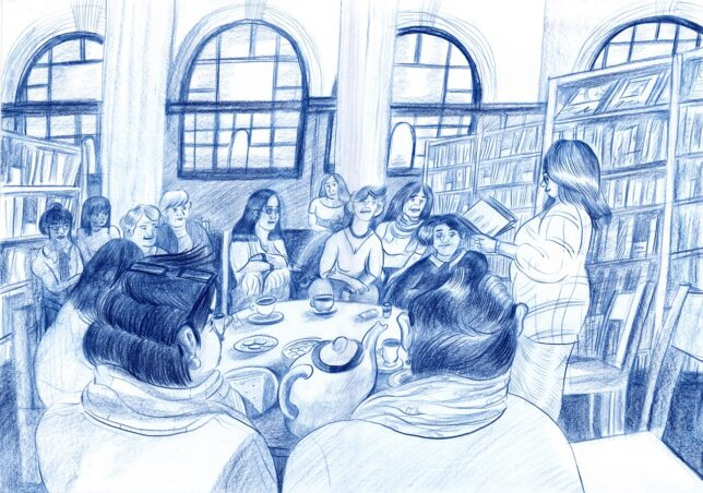 Illustration of GWL's Story Cafe. Credit: Johanne Deffarges, 2020