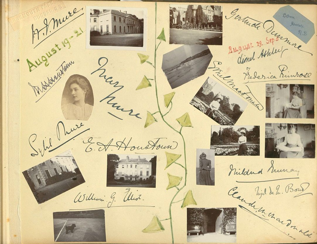 A yellow-coloured page from a photograph album. On it are displayed about a dozen small, black and white photos of people and stately homes, surrounded by signatures and a watercolour sketch of ivy.