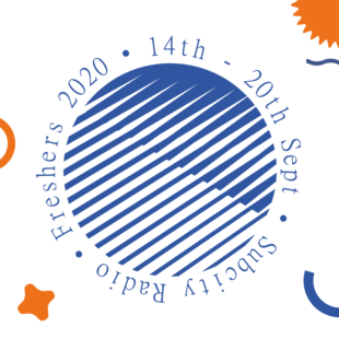 Subcity's blue circular logo with Fresher's Week 2020 banner featuring the dates 14th September to 20th September.