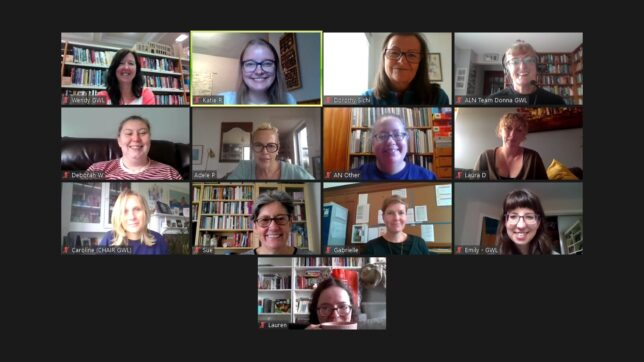 Screenshot of a Zoom screen, there are 13 tiles with smiling faces of some of the GWL staff team.