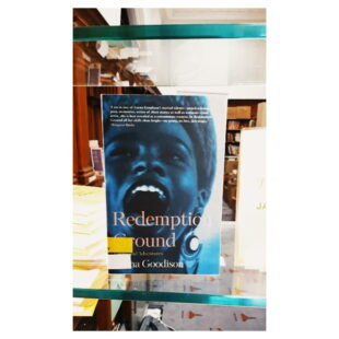 """The book """"Redemption Ground"""" sits in the window in front of the GWL main office"""