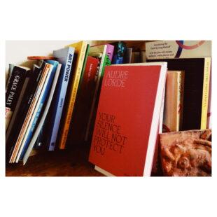 books sit on a shelf