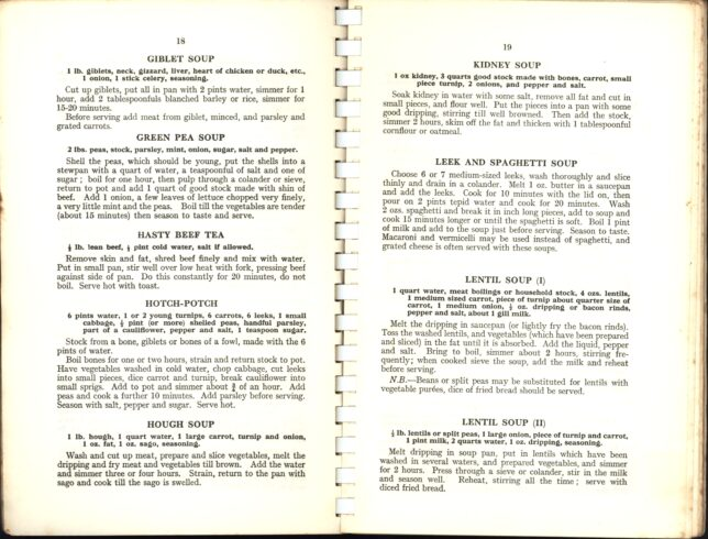 Soup recipes from the SWRI Cookery book