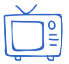 A simple sketch of an old style TV. a blue outline on white background
