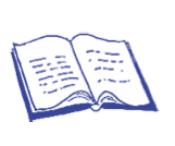 an illustration of an open book. blue line on white.