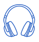 a sketch of headphones. blue outline on white