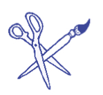an illustration of a pair of paper scissors and a paintbrush. Blue lines on white