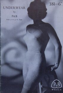 Knitting pattern cover showing a black and white photo of a young slim woman wearing a knitted underwear set. She is leaning against a chair and her face is shaded so that we cannot see her expression.