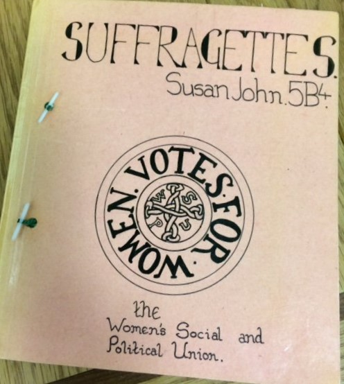 The cover page of a school project about the Suffragettes