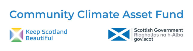Logo banner for the Community Climate Asset Fund. Below the fund title, there are two logos - one with 'Keep Scotland Beautiful' and a multicoloured saltire, the second with a blue saltire and 'Scottish Government / Riaghaltas na h-Alba / gov.scot'