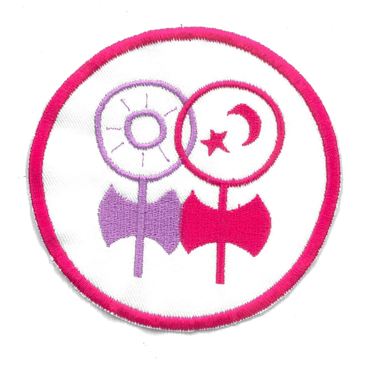 Pink and purple stitched patch showing two women symbols adapted to include the labrys (double-headed axes).