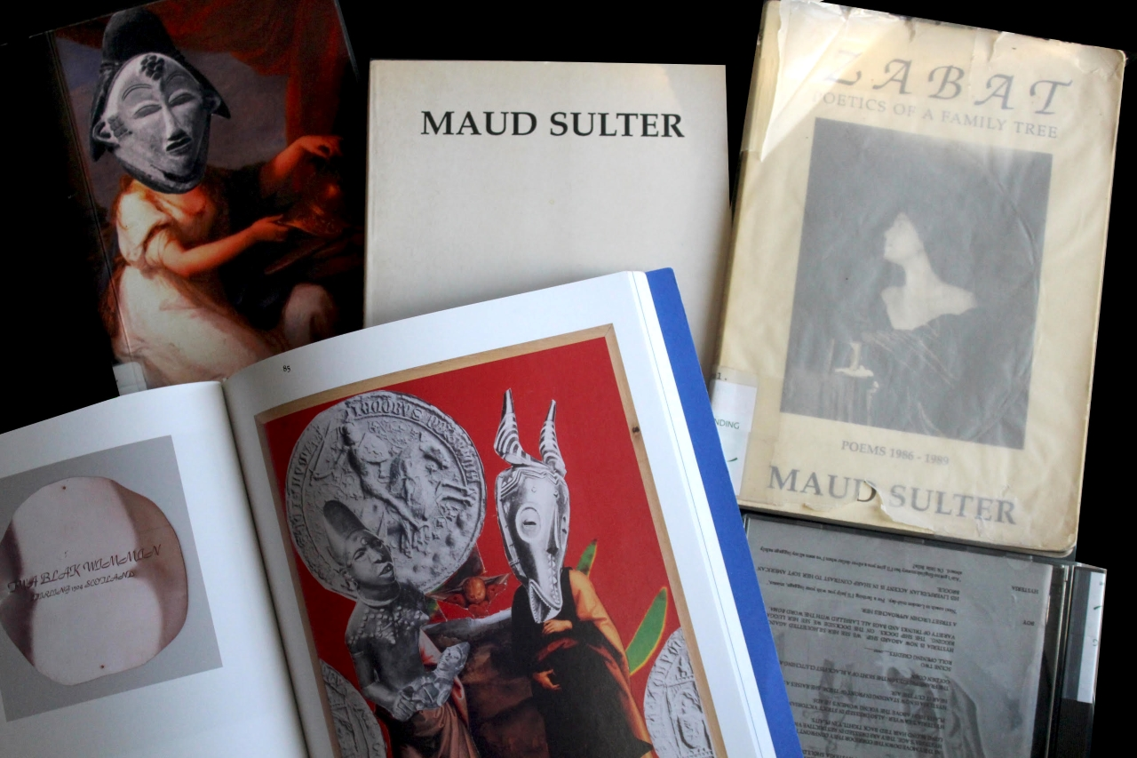 A selection of books by Maud Sulter overlaid on a table. Some books are open showing collage and photography by Maud Sulter.