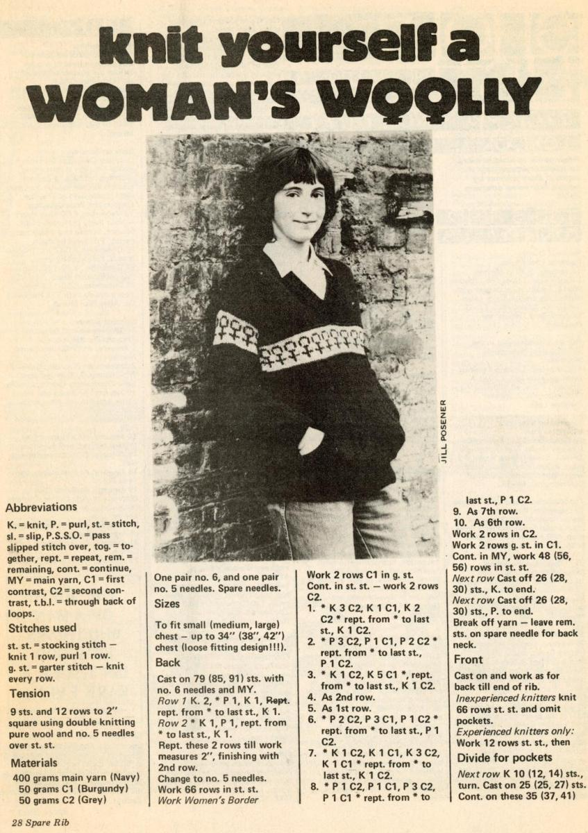 Detail in black and white from Spare Rib magazine titled 'knit yourself a WOMAN'S WOOLLY', with the last two 'O's depicted as the female symbol, above a photograph of a woman wearing the knitted jumper and the first steps of the pattern