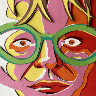 Cropped, paper cut-out portrait of Edith Simon close-up looking straight at viewer with red, orange, pink, yellow and white paper for her face and green for her oversized glasses.
