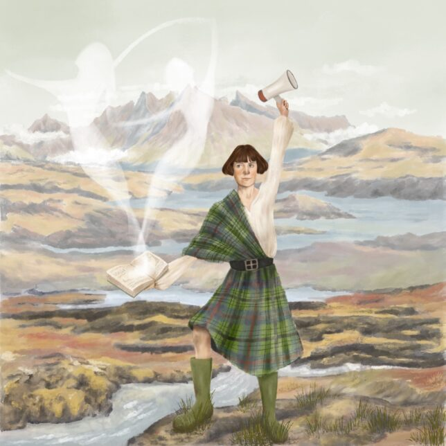 : Wendy is depicted in traditional Scottish attire against the Scottish landscape to illustrate her ties to the country. She holds a book in one hand as a nod towards her writing career. Two ghostly figures similar to her character illustrations appear from the book. In the other hand she holds a megaphone representative of her involvement in Scottish nationalism.