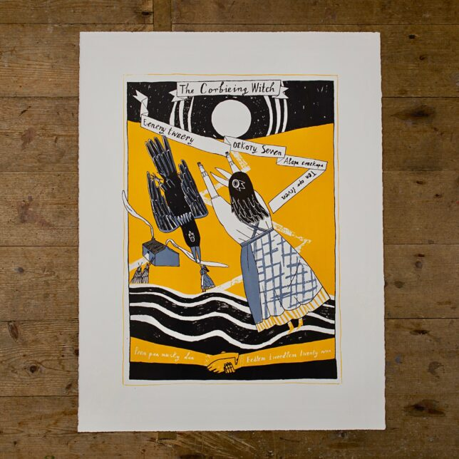 Yellow, black and grey image of a woman with a raven's head balancing on waves and communing with an earthward bound raven. The image contains text relating to counting songs and is framed by the title and a full moon. Below the main figures two hands are clasped and there is a small crofting house in the background.