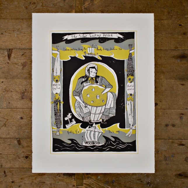 Grey, black and mustard print of a woman stirring cups in a barrel. She is framed by two viking ships at the top and bottom of the print on waves. At the sides black and white images of fish appear held up by small hands.