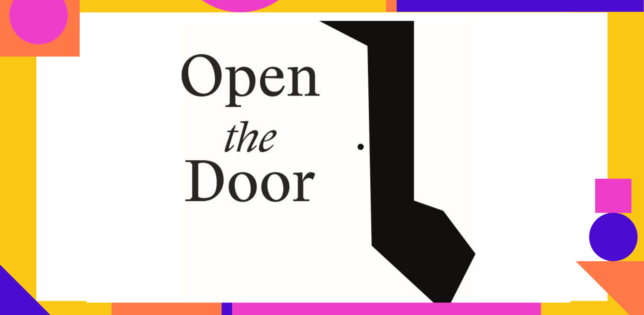 Open the door logo for slider - Blue, Yellow and Pink Shapes as border
