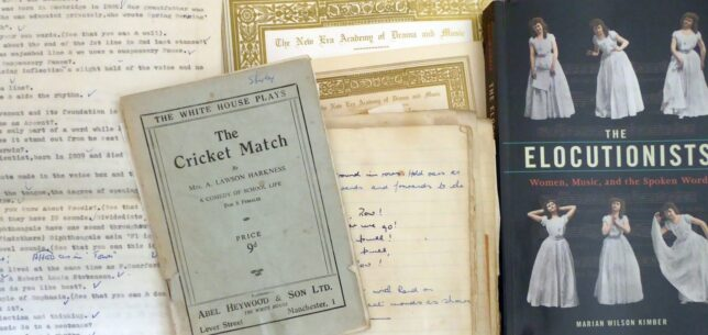 Class notebook with typed verse beside a small paperback play titled The Cricket Match, New Era Academy certificates with gilt borders and a book titled The Elocutionists