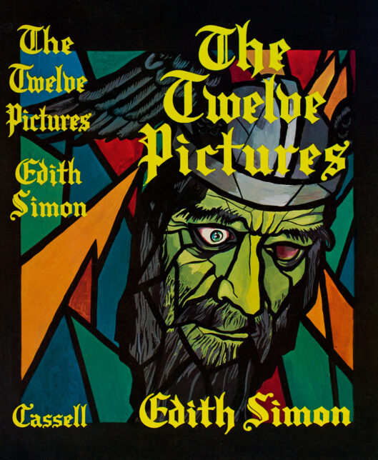 A book jacket designed by Edith Simon for her own book titled The Twelve Pictures