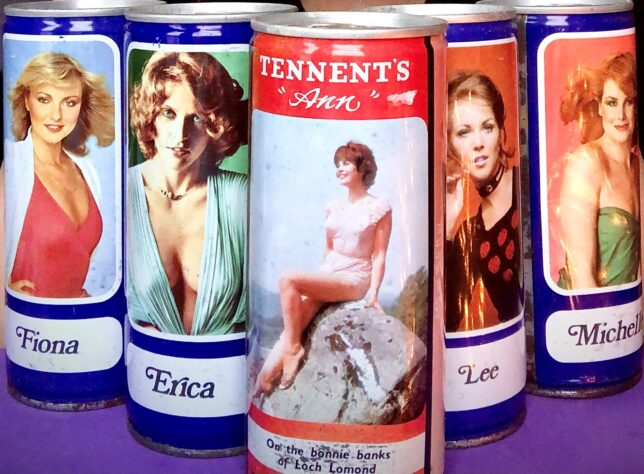 A selection of old Tennant's tins featuring images of women. On one Ann is shown sitting on a rock wearing a swimsuit. At the bottom of the can 'On the bonnie banks of Loch Lomond'.