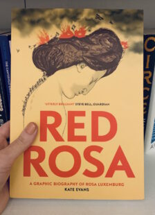 Image shows cover of Red Rosa graphic novel. Illustration of Rosa's profile side in with soldiers marching up her neck and fighting on top of her head. Picture is taken against the backdrop of a bookcase.
