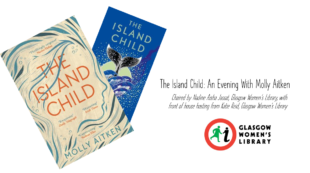 Two book covers showing The Island Child by Molly Aitken with the GWL logo.