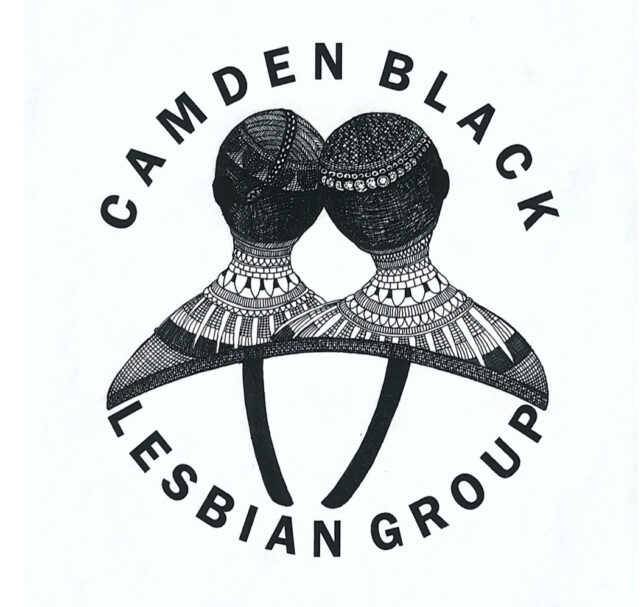 Camden Black Lesbian Group logo. Illustration of two people's heads and shoulders, their heads leaning on each other, wearing intricately detailed necklaces and skullcaps. Above, the words 'CAMDEN BLACK' curve over the ; below, 'LESBIAN GROUP' curves around the bottom.